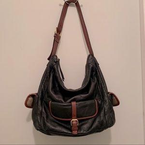 Isaac Mizrahi Leather purse bag. Brown/black